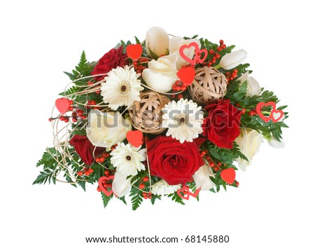 bouquet of flowers in a glass vase, isolated on white