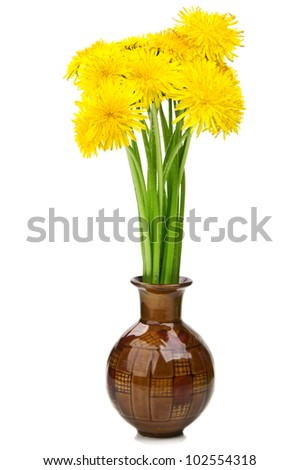 bouquet of flowers in a vase isolated on a white background