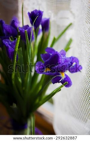 bouquet of flowers iris standing in a vase near the window
