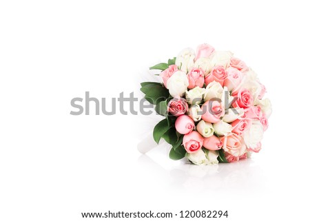 Bouquet of flowers isolated on white - stock photo