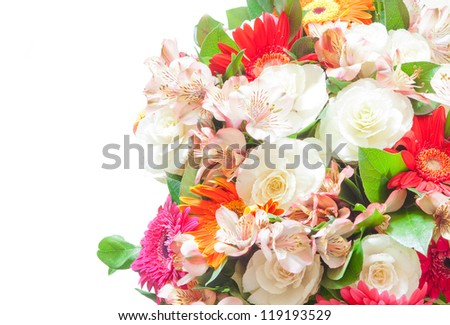bouquet of flowers isolated over white background