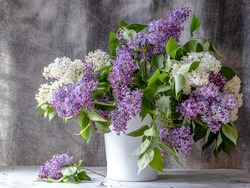Bouquet of flowers, lilac, in a vase.  Close-up