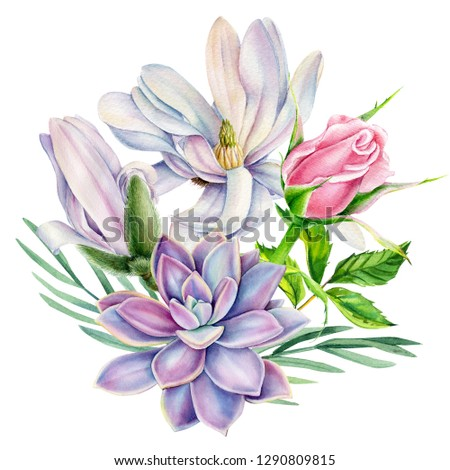 bouquet of flowers, magnolia,succulent, pink rose with green leaf, beautiful flower on a white background, watercolor illustration, botanical painting