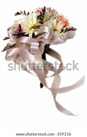 Bouquet of flowers on a solid white back ground for easy separation. Feathered edges.