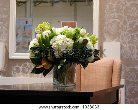 Bouquet of flowers on a table in a living room