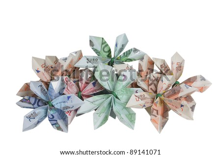 Bouquet of flowers origami made by bills of different values of euro.