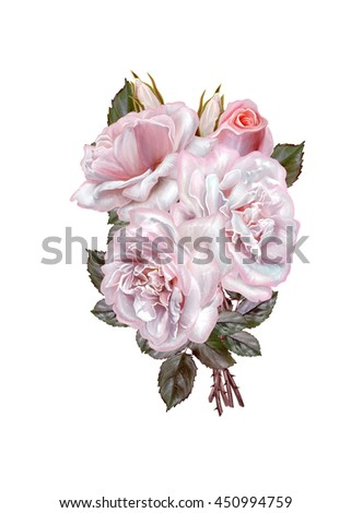 Bouquet of flowers. Rosa pastel, pink, old style. Flower composition. Isolated on white background.