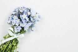 Bouquet of forget-me-not flowers, copy space