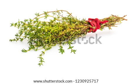 79d42d809251 Bouquet of fresh and raw thyme. Isolated on white background. Ingredient of  Mediterranean cuisine