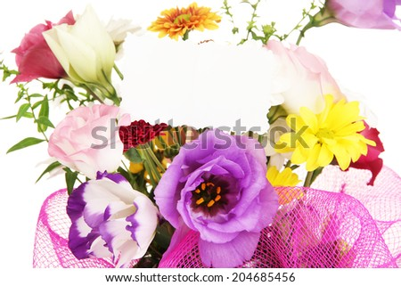 Bouquet of fresh flowers for sale isolated on white