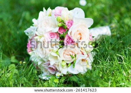 Bouquet of fresh flowers for the wedding ceremony