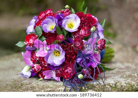 Bouquet of fresh flowers for the wedding ceremony. Wedding bouquet.
