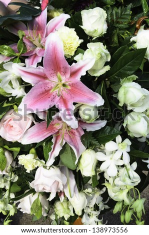 Bouquet of fresh flowers  used for decoration at the time