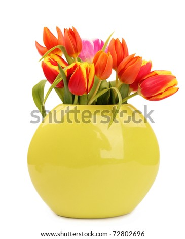 BOuquet of fresh tulips in vase, isolated on white background