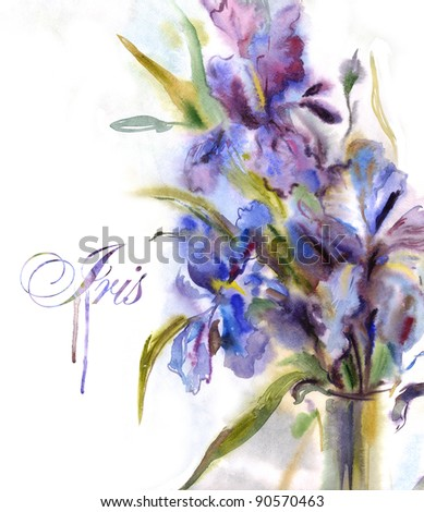 Bouquet of irises. Watercolor painting