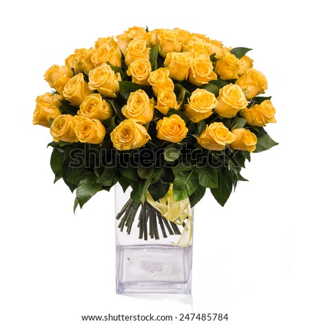 bouquet of isolated yellow roses in vase on a white background