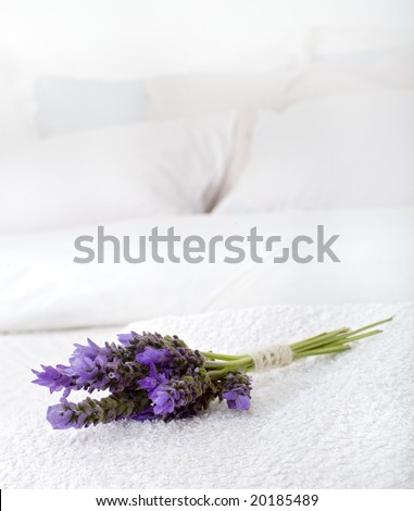 bouquet of lavender on a white towel on a bed - stock photo