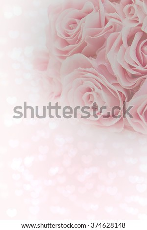 Bouquet of light pink roses with heart background.Valentines day wallpaper.