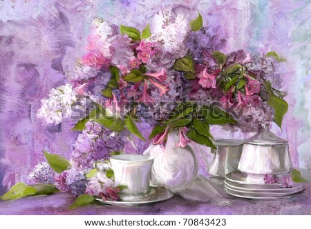 bouquet of lilac, paintings