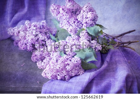 bouquet of lilacs on the table with a cloth, still life, painting