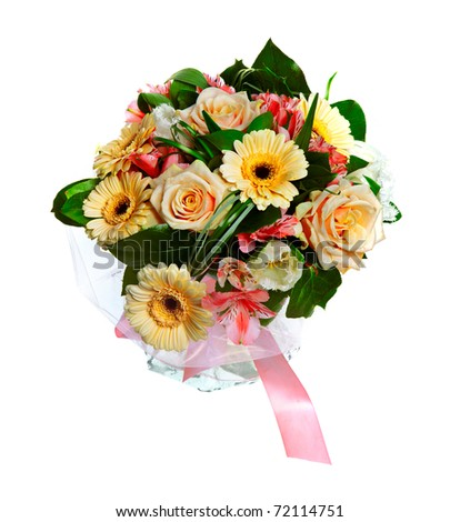 bouquet of lilias, roses and gerberas isolated over white background