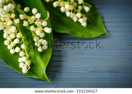 bouquet of lilies of the valley on a blue rustic table