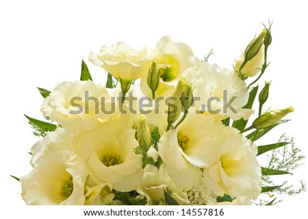 bouquet of lisianthus flowers isolated with clipping path on white background