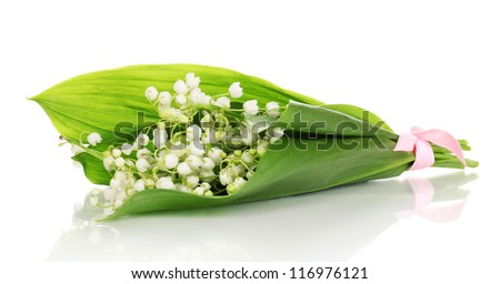 Bouquet of may-lilies isolated on white