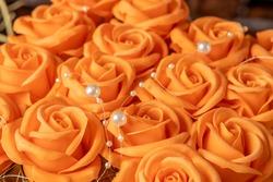 Bouquet of orange roses. Orange rose buds close-up.