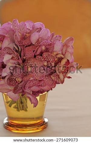 Bouquet of orchid flowers in glass vase