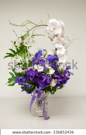 Bouquet of orchid in a vase