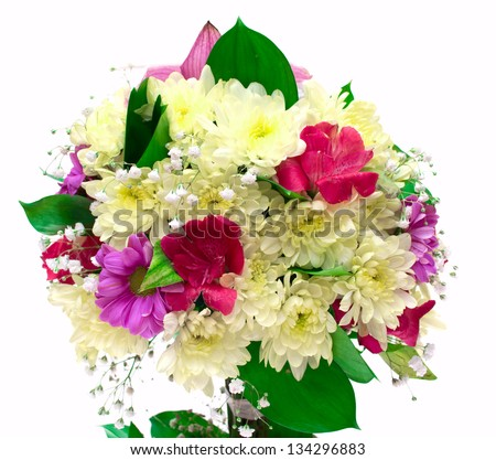 Bouquet of orchids and chrysanthemums isolated on white background