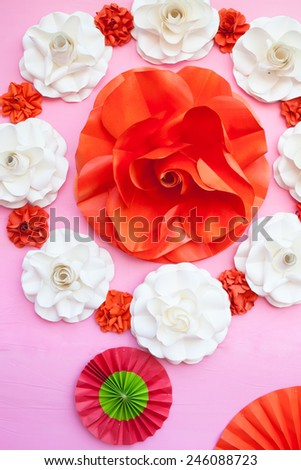 Bouquet of paper roses #246088723