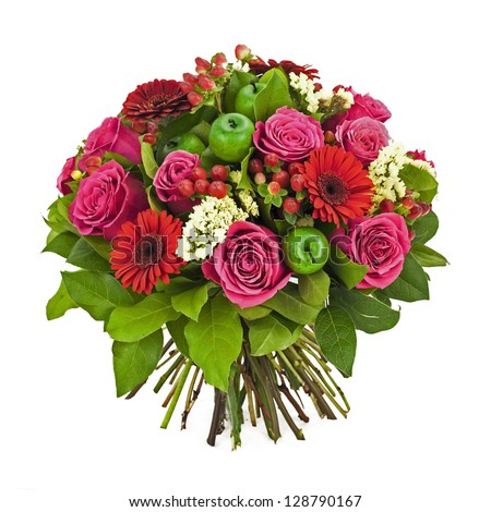 bouquet of pink and red flowers isolated on white