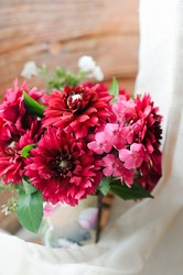 bouquet of pink fuchsia wild flowers dahlias and Phlox