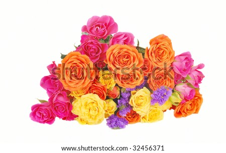 orange flowers bouquet. stock photo : Bouquet of pink,