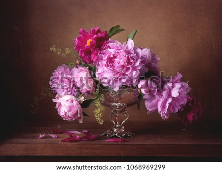 Bouquet of pink peonies #1068969299