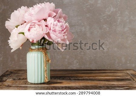 Bouquet of pink peonies, copy space