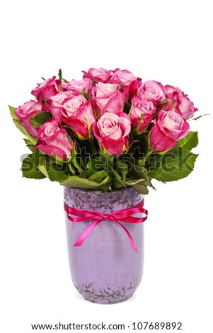 bouquet of pink roses in vase