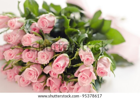 Bouquet of pink roses isolated on white background - stock photo
