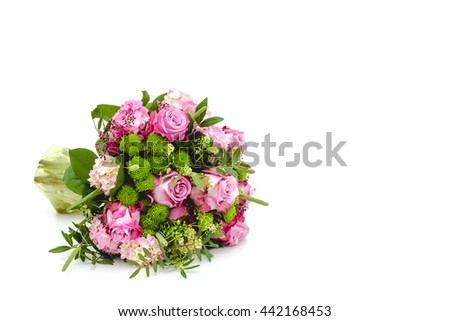 Bouquet of pink roses on a white background #442168453