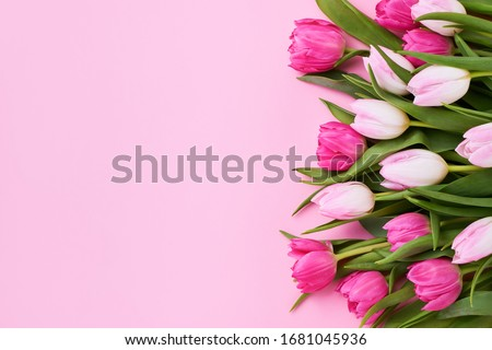 Bouquet of pink tulips on pink background. Mothers day, Valentines Day, Birthday celebration concept. Greeting card. Copy space for text, top view Stock fotó ©