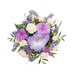 Bouquet of purple flowers isolated on white background