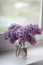 Bouquet of purple spring flowers on window. Lilac flowers close up. Bouquet of lilac in glass vase. Lilac isolated on white background