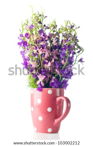 Bouquet of purple wild flowers in a pink polka-dot cup
