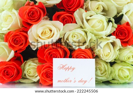 Bouquet of red and yellow roses on a white background 222245506