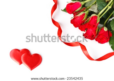 Bouquet of red roses and heart. Valentines day card.