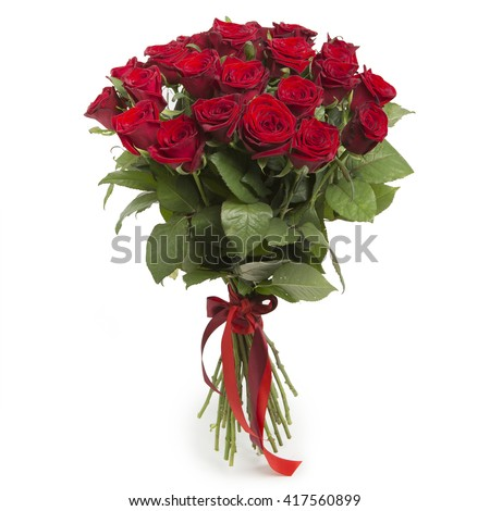 Bouquet of red roses on white background #417560899