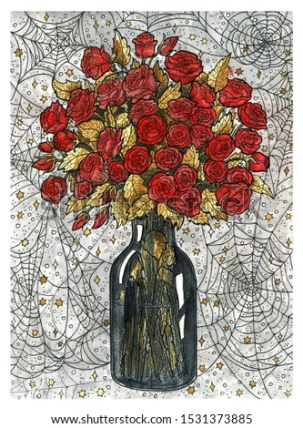 Bouquet of rose flowers in vase and spider web. Colorful graphic engraved illustration. Fantasy and mystic drawing. Gothic, occult and esoteric background for Halloween