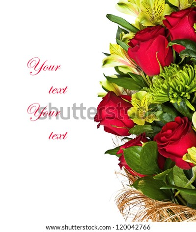 bouquet of rose, green chrysanthemum and orchid